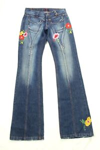 E. LOCO Women's Jeans Flare Embroidered Distressed Size 36 (US 4) Made In France