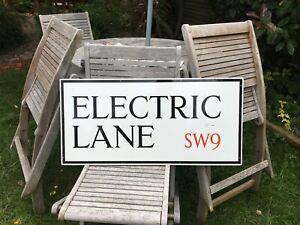 ORIGINAL ENAMEL LONDON STREET ROAD SIGN ELECTRIC LANE BRIXTON SW9 NOT AVENUE