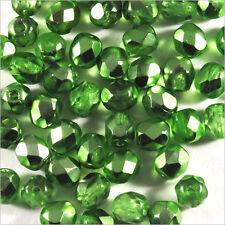Facettes de Bohème 4mm Vert Métal Lot de 50 perles