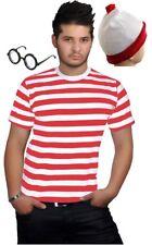 Hombre Rojo y Blanco Rayas Crew Redondo Cuello Camiseta Todo Talla S a XXL