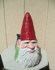 #14 Lying On Belly Gnome with Feet Up Painted Cement Concrete Garden Statue