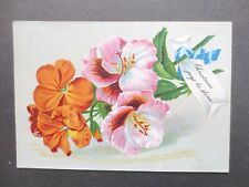 ANTIQUE Christmas Card Brightly Coloured Geranium Flowers Victorian