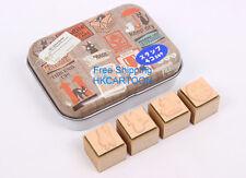 JAPAN MADE GHIBLI STUDIO KIKI'S DELIVERY 4PC WOOD STAMPS SET W/ METAL BOX
