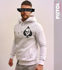 Pistol Boutique White Pullover ACE OF SPADES SKULL CROSS HEART CHEST hoodie
