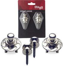 STAGG SSL1 STRAP LOCKS FOR STRAPS GUITAR MANDOLIN BANJO BASS  COLOR CHROME