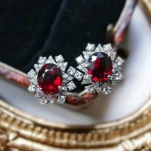 2.90Ct Oval Brilliant Cut Red Ruby Halo Stud Earrings 14k White Gold Finish