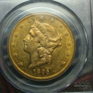 "1895 ""S"" $20 Gold Liberty Double Eagle PCGS AU 55"