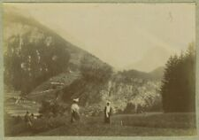 Vue de Pralognan-la-Vanoise (Savoie). Montagne. Tirage citrate circa 1910.