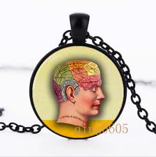 Phrenology Goth photo Glass Dome black Chain Pendant Necklace wholesale