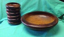 Vintage Wood Salad Bowl with 6 Serving Bowls