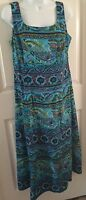 Maxi Tank Dress Turquoise Paisley Women's K Studio Collection Size 10