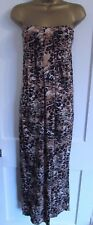 GEORGE LADIES STRAPLESS BEIGE BLACK STRAPLESS ANIMAL LONG MAXI DRESS SIZE 10