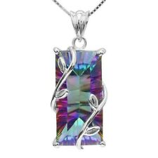 Women 925 Silver Plated Necklace Chocker Rainbow Topaz Pendant Bib Chain