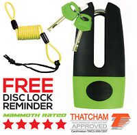 MAMMOTH THATCHAM APPROVED SHACKLE MOTORCYCLE SCOOTER DISC LOCK & REMINDER