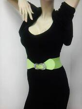 Thin Women Elastic Light Green Belt With Unique Rhinestones Buckle Sizes S M L