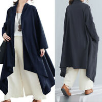 Womens Long Sleeve Solid Casual Loose Cardigans Waterfall Trench Coats Plus Size