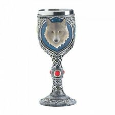 Timber Wolf Goblet Features a Celtic Design Stainless Steel & Blue Accent Nice