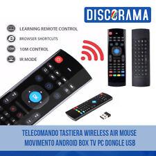 TELECOMANDO TASTIERA WIRELESS AIR MOUSE  MOVIMENTO ANDROID BOX TV PC DONGLE USB