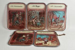 g66g40- 5-tlg. Konvolut Glasbilder, Bleiverglasung, Darstellungen von Berufen
