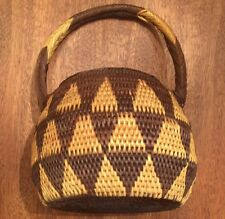 Papua New Guinea PNG BUKA Densely Woven Triangle Design Brown Handled Basket