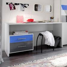 Schreibtisch Colori Tisch in weiß inkl. Rollcontainer in blau und grau