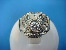 14K GOLD MASONIC VINTAGE HEAVY RING WITH LARGE DIAMOND, 14.1 GRAMS SIZE 7.5