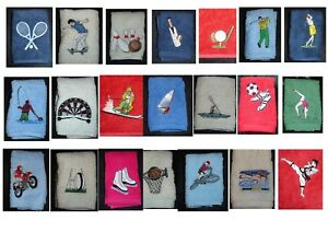 Personalised embroidered  towel sets with sports motif and name