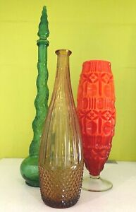 Vintage  Amber Glass Genie Bottle Decanter 1960s -70s Empoli Style
