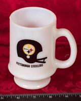 Vintage Pittsburgh Steelers Coffee Mug Milk Glass Style WIIC TV 11 Alive mbh
