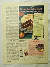1949 Magazine Ad Page Ballard Biscuits Yeast Rolls Walter Baker's Chocolate