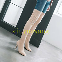 Womens Over Knee Thigh Boots Suede Pointy Toe Stilettos High Heels Casuals Shoes