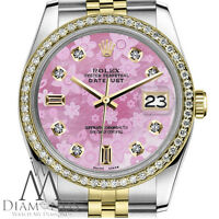Women's Rolex 26mm Datejust 2 Tone Pink Flower MOP Mother of Pearl Dial Watch
