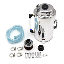 2L 2 LITRE ALUMINIUM POLISHED ROUND OIL CATCH CAN TANK WITH BREATHER FILTER