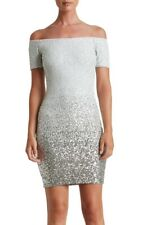 Dress the Population Larissa Off The Shoulder Sequin Ombre Dress White XS NWT