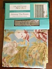 Traditions By Waverly Shower Curtain & Hooks Among The Roses Fabric Floral Blue
