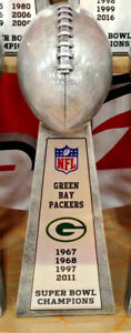 """10"""" LOMBARDI STYLE SUPER BOWL TROPHY GREEN BAY PACKERS SILVER TONE HEAVY RESIN"""