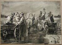 Russian Ukrainian USSR Watercolor Painting rural bazaar genre realism 1950s