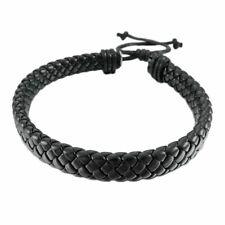 Leather Bracelet Bangle Cuff Rope Black Surfer Wrap Adjustable Men Women