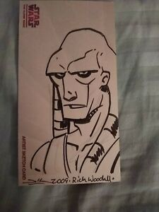 2009 Topps Star Wars The Clone Wars sketch card by Rich Woodall