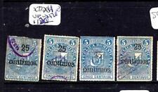 DOMINICAN REPUBLIC   (PP2302B)  25C  SURCH   SC 77 X 4  DIFF TYPES OVPT VFU