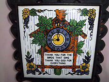 Trivet Rooster Vintage Cast Iron w/Tile Handle Center has Cuckoo Clock Flowers