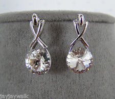 SWAROVSKI CRYSTAL ELEMENTS CLEAR DIAMONDLIKE DANGLE EARRINGS PLATINUM FINISH