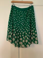 Boden Green White Pleated Polka Dot Spotted Skirt Size 14 R