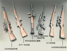 Set of 6 pcs. 1/6 Scale Weapon G43 SVT RPG Cheytacm200 KAR98K 38 Rifle Toys