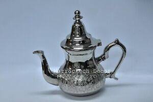 Moroccan Small Tea Pot Handmade Serving Small Brass Silver Plated Fes Morocco