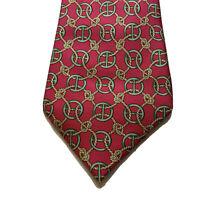 Hermes Mens Neck Tie Red Rope Link 100% Silk Made In France 670 OA Elegant