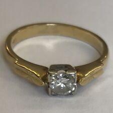 18ct Solid Gold solitario anello di diamanti dimensione N 4.6mm DIAMOND PRINCESS illusione