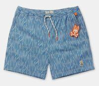 Psycho Bunny Men's Campanula Blue Printed Swim Trunks