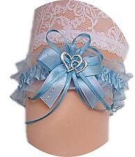 Strumpfband Braut hellblau blau mit Schleife Satin Herzchen Silbernaht Hochzeit