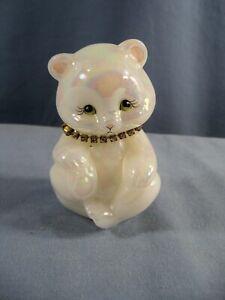 Fenton White Carnival Glass Hand Painted Birthstone Bear Figurine February